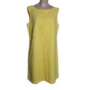 Loft Sheath Dress  Cotton Yellow Embroidered